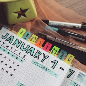 planning calendar with SMART goals and tabs
